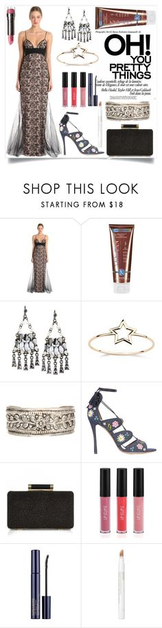 """""""Long Silk Tulle Gown"""" by camry-brynn ❤ liked on Polyvore featuring La Perla, Xen-Tan, Lydell NYC, Aurélie Bidermann, Vanessa Mooney, Tabitha Simmons, Diane Von Furstenberg, Sigma, Jouer and LORAC"""