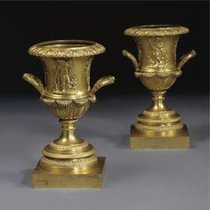 c1820 A pair of Restauration Ormolu Urns circa 1820 Estimate 5,000 — 7,000 USD. unsold