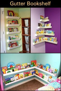 Gutter Bookshelf Want to encourage your kids to read? Then build this beautiful gutter bookshelf!Want to encourage your kids to read? Then build this beautiful gutter bookshelf! Wall Bookshelves Kids, Gutter Bookshelf, Bookshelf Diy, Dorm Shelves, Nursery Bookshelf, Bookshelf Design, Diy Storage Projects, Diy Gutters, Toy Rooms