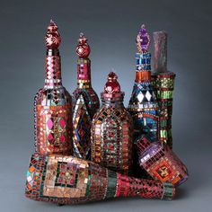 more mosaic bottles ~ Laurel Skye.  Love these... and they're hard!