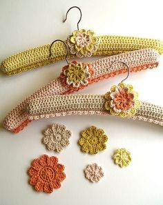crocheted hangers, so sweet.