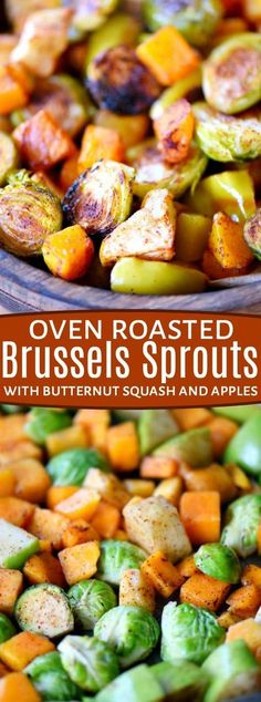 Oven Roasted Brussels Sprouts with Butternut Squash and Apples are liberally spiced with ground cinnamon and chili powder for a fantastic explosion of flavor. An easy side dish that is perfect for any night of the week. Whole30 compliant. // Mom On Timeout #roasted #vegetables #veggies #Brusselssprouts #butternutsquash #apples #recipe #fall #Thanksgiving #christmas #sidedish #Whole30