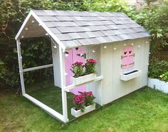 kinderhuisje Yard Design, House Design, Cute Dogs, Shed, Exterior, Outdoor Structures, Landscape, Architecture, Girls