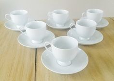 6 Six Vintage Mikasa Classic Flair White China by LalasCollections