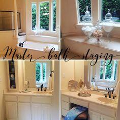 Master bath staging Bathroom Organization, Home Staging, Master Bath, Mirror, Frame, House, Furniture, Home Decor, Picture Frame