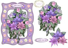 flowers in a frame on Craftsuprint designed by Heather Howes - a lovely shaped card front with layers - Now available for download!