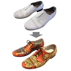 Bored of plain black, white or brown shoes? Hoping to spruce up your favorite pair of battered brogues? Interested in making a personalized gift for someone who has feet? This instructable will talk you through the process of turning a blank pair of shoes into a colorful fashion statement. Of course, what that statement says is entirely up to you. A while ago I bought myself a snazzy pair of white leather dance shoes (for lindy hop and blues, if you must know). Clumsy dancer that I am…