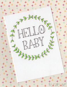Hello Baby Card ... new baby welcome boy girl by ThePaisleyFive, $5.00
