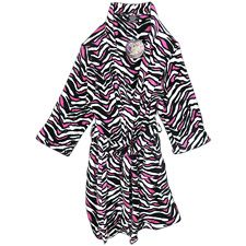 She'll feel warm and cozy in this fun zebra print robe from Fun Apparel, Inc. 100% polyester. .  .     long-sleeved plush robe .     zebra print .     belt loops .     inner tie .     removable outer tie belt .     2 front pockets .     flame resistant .