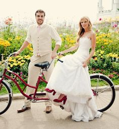 """My grandmother used to sing the Daisy Bell """"...it won't be a stylish marriage, I can't afford a carriage, but you'll look sweet upon the seat of a bicycle built for two!"""" I always thought that would be a cool engagement picture... here it is as a wedding pic."""