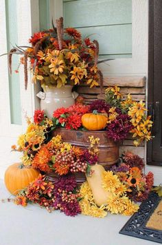 Fall Front Doors, Fall Front Porches, Front Porch Fall Decor, Fall Decor  Outdoor