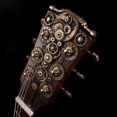 Steampunk Semihollow guitar with a Tonerider pickup. By Archangels Guitars. Guitar Painting, Guitar Art, Music Guitar, Cool Guitar, Ukulele, Violin, Steampunk Design, Steampunk Fashion, Steampunk Guitar