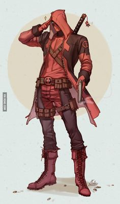 Deadpool and ASSASSIN'S CREED Mashup Art