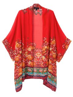 Red Floral Batwing Sleeve Kimono Coat   Choies