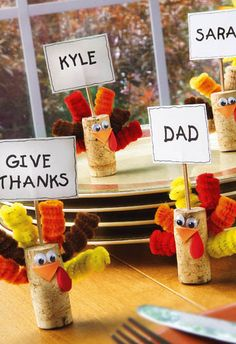 Cork Turkeys.  Maybe I could use this project if the kids are too rowdy just before Thanksgiving?