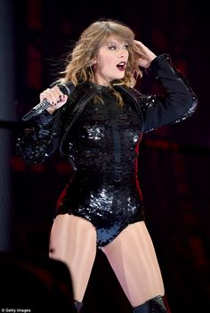 Taylor Swift puts on an incredible display in a sequinned leotard in Pasadena | Daily Mail Online