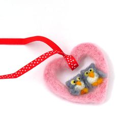 Felt Owl ornament  Pink heart ornament  Our first by drudruchu, $9.50
