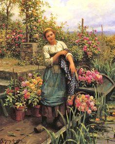 Daniel Ridgway Knight (American-born French genre painter, 1839-1924) The Flower Boat