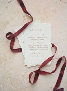 Simple cranberry calligraphy invitation | Lani Elias