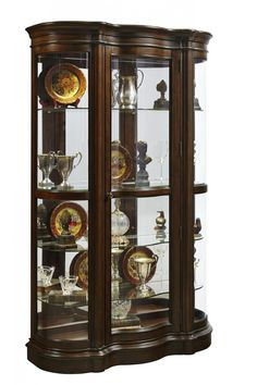 curios harley curved end curio cabinet in cherry dining room table sets bedroom furniture curio cabinets and solid wood furniture model home