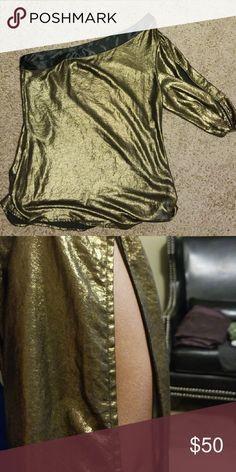 Beautiful party top Bebe gold metallic off-shoulder sheer top bebe Tops Blouses