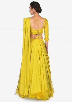 Corn Mustard Layered Lehenga With Raw Silk Blouse And Pre Stitch Dupatta Online - Kalki Fashion Blouse Designs Silk, Choli Designs, Lehenga Designs, Designer Party Wear Dresses, Indian Designer Outfits, Saree Color Combinations, Lehnga Dress, Blouse Dress, Frock Fashion
