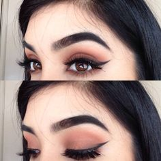 dramatic eyebrows, flawless cat eye and eyeshadow. beautiful.