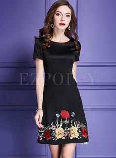 Vintage Dresses - Shop Vintage High Waist Embroidered A Line Dress at EZPOPSY. Knee Length Dresses, Short Sleeve Dresses, Cute Dresses, Formal Dresses, Vintage Dresses, Embroidered Clothes, Embroidery Fashion, Winter Dresses, White Fashion