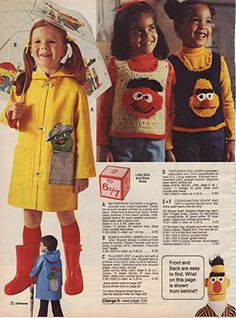 Sesame Street Apparel From The - That Eric Alper Kids Clothes Uk, Vintage Kids Clothes, Vintage Children, Vintage Outfits, Kids Clothing, Teen Boy Costumes, Costumes For Teens, Halloween Costumes For Girls, Halloween College