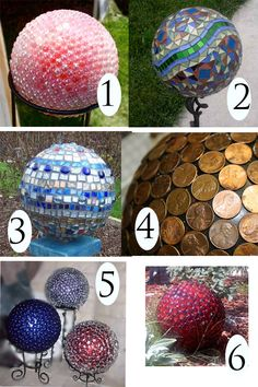 How To Make Decorative Garden Balls.  I Think I May Try This With One Of Those Cheap Rubber Balls You Can Get At The Dollar Store, Or Even Some Cheap Foam Balls!!!