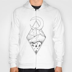 Geometric mountain in a diamonds with moon (tattoo style - black and white) by #Beatrizxe | #society6 #hoody #tee #shirt Several mountains are enclosed in two overlapping diamonds or rhombs. A crescent moon escapes of the diamonds and it seems a optical illusion #Geometric  #illustration #mountain #diamond #rhomb #moon #optical #illusion #ink #tattoo #line #pointillism #design #sketch #doodle #minimal #minimalism #mountains #night #minimalist