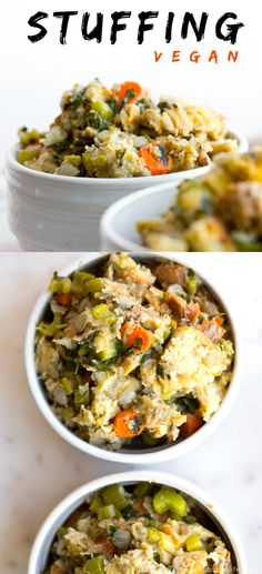 Basic and Easy Vegan Stuffing Recipe for Thanksgiving and winter holidays! Savory, fluffy and super moist with loads of veggies.