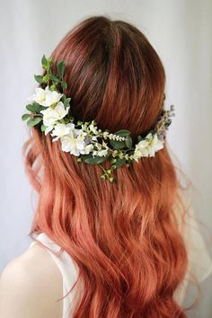Floral Wedding Hair Vine Flower Crown Woodland Wedding #weddingcrowns