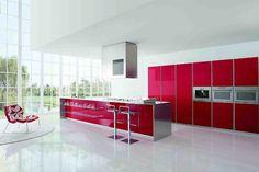 cocina de lujo moderna rojo