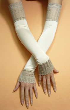 Long Vanilla Retro Armwarmers, Fingerless Ivory Wedding Gloves, Lolita, Stretchy Sleeves with Beige Lace, Regency, 20's Style. $25.00, via Etsy.