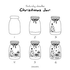 Christmas is coming and you may want to write your bullet journal or handmade Christmas card, then you must need these Christmas doodles! These Christmas doodles are cute and teach you step by step how to draw them perfectly, so you can learn easily. Christmas Sketch, Christmas Doodles, Christmas Jars, Easy Christmas Drawings, Xmas Drawing, Drawing For Kids, Drawing Ideas, Bullet Journal Ideas Pages, Bullet Journal Inspiration