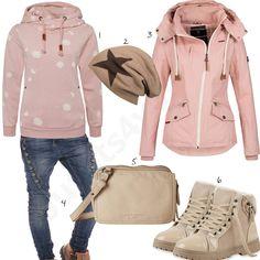 Lässiger Style für Damen in Altrosa und Beige (w0977) #rosa #beige #outfit #damen #outfit #style #fashion #womensfashion #womensstyle #womenswear #clothing #frauenmode #damenmode #handtasche  #inspiration #frauenoutfit #damenoutfit
