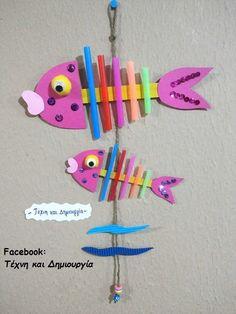 ~ Fish from drinking straws, Μόμπιλε με ψαράκια από καλαμάκια και γλωσσοπίεστρα~