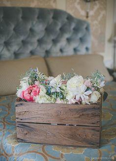 Wedding bouquets - ivory garden roses, pink peonies, ranunculus + blue flowers