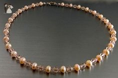 Peach Button Pearls and Swarovski Silk Round Crystal Necklace - Wedding nacklaces (*Amazon Partner-Link)