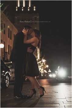 couple in street, city lights, city at night, Central West End, St. Louis engagement session, St. Louis wedding photographer, Charis Rowland Photography