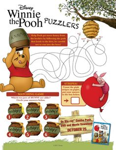 Winnie the Pooh Printable Puzzlers