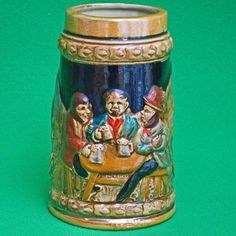 Vintage Ceramic Beer Stein, Made In Japan, Tavern Scene