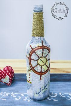 Decoupage on bottle - dekupáž na fľaši. www.dolcekreativ.sk obchodík s kreatívnymi pomôckami