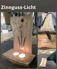 A rustic tree branch #candleholder adds a cosy atmosphere and is easy to #make: http://www.1-2-do.com/de/projekt/Windlicht---Zinn-in-Holz-giessen-II/bastelanleitung-zum-selber-basteln/4000987/