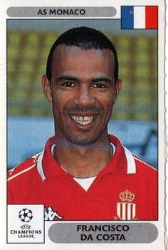 Super football sticker from the PANINI 2000 2001 UEFA Champions League series Each team has their key players featured with head and shoulder shots Super Football, Football Soccer, Football Players, Football Stickers, Football Cards, Baseball Cards, As Monaco, Man Games, Paninis