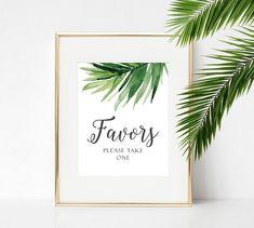 Favors Sign - Tropical Leaves Wedding Sign - Favor Table Sign - Favors Printable - Palm Leaf Decor Wedding - Tropical Wedding Sign - Green
