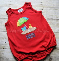 Beach umbrella applique bubble romper. Sun bubble. Summer outfit. Boy's romper. Girl's romper. Vacation outfit. Beach outfit. Infant Toddler by SimplieGirlieDesigns on Etsy