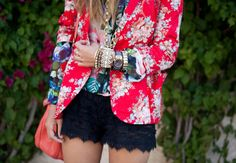 lace shorts and floral red blazer