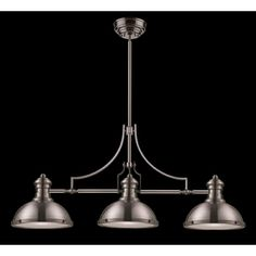 over Kitchen table Westmore Lighting�13-in Chadwick 3-Light Satin Nickel Island Light with Frosted Shade